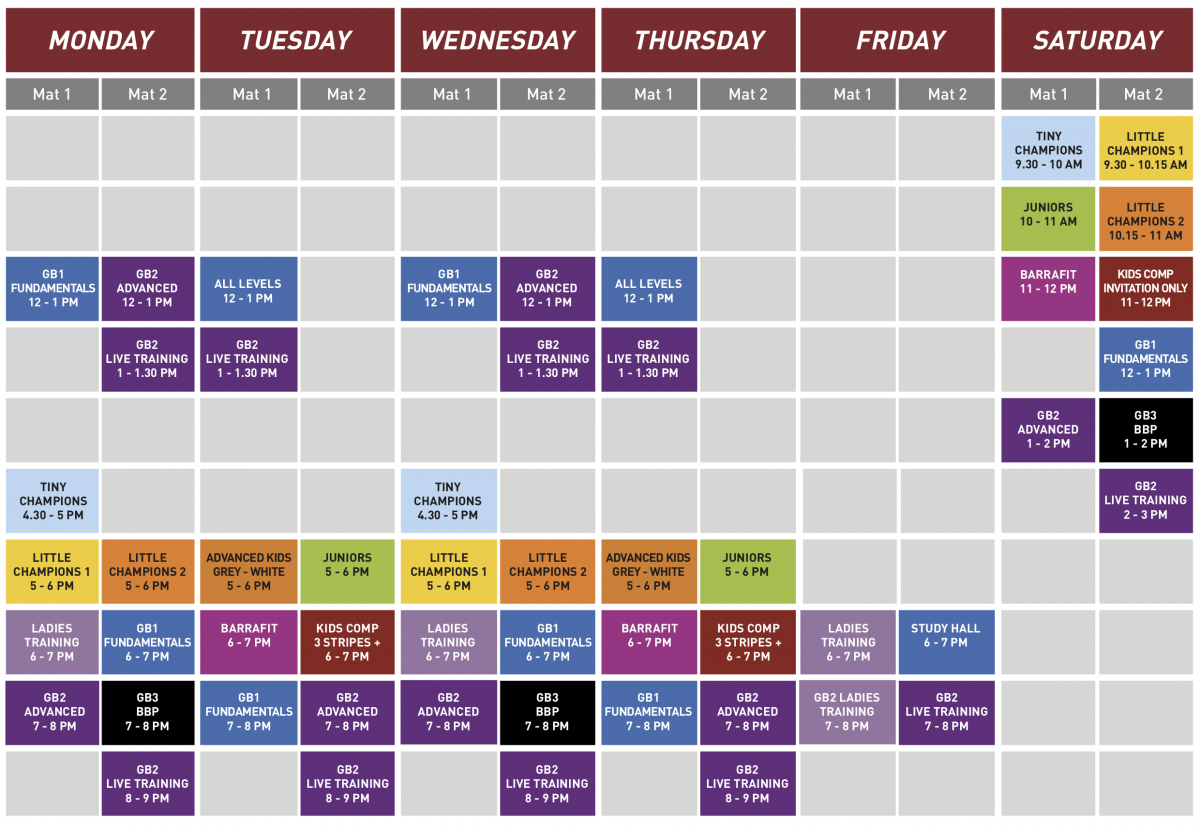 New Timetable for Gracie Barra Nottingham